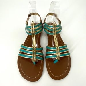 Dolce Vita Strappy Sandals Turquoise Gold Size 8